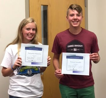 Freshman, Samantha Simmons & Trystan Vysotsky, April Students of the Month