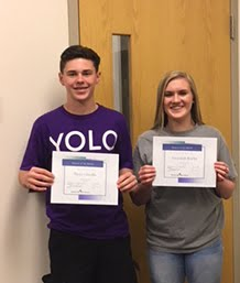 Freshman, Bryce Goodin & Savannah Kuehn, Students of the Month for May 2018