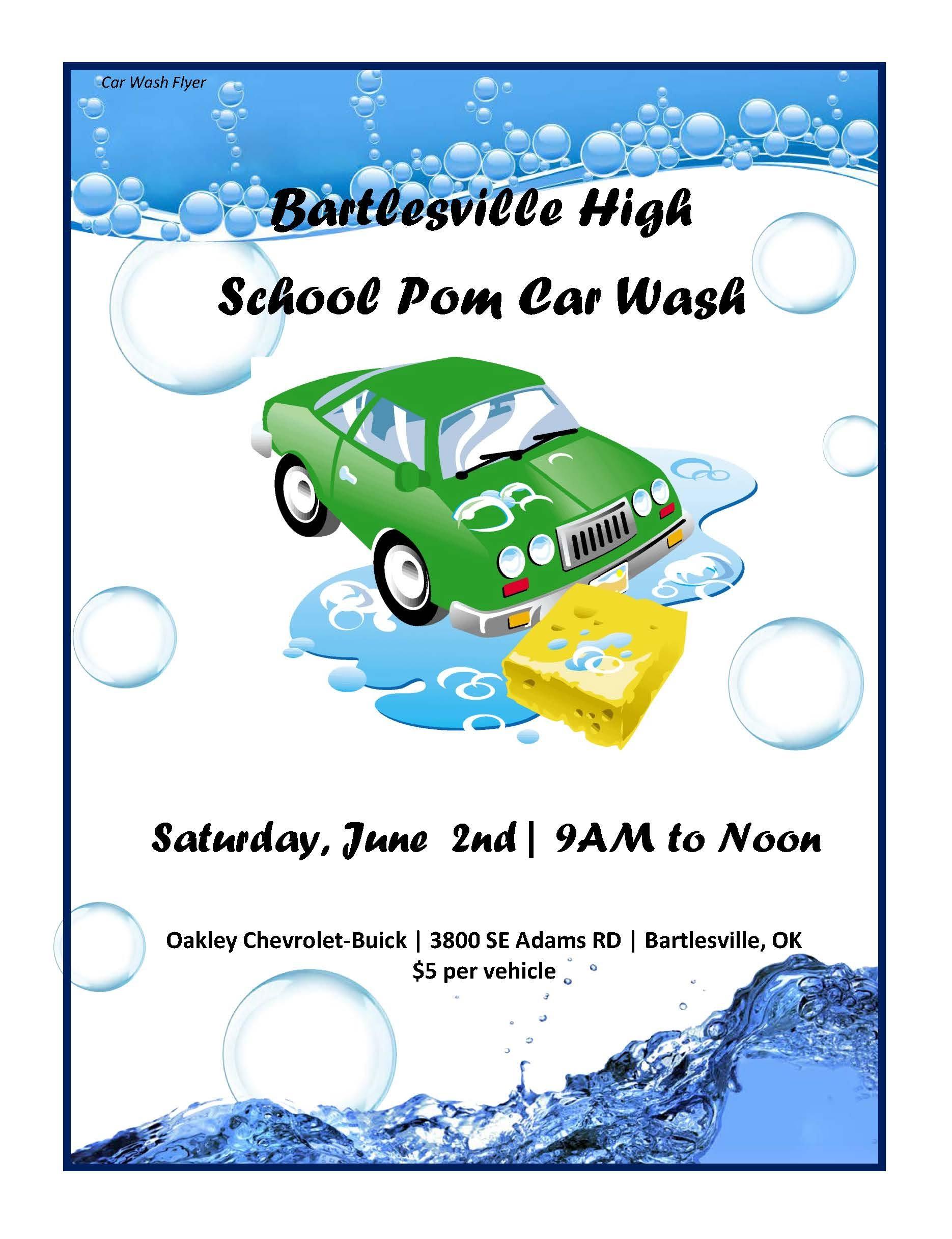 BHS Pom Squad 2018 Car Wash Flyer