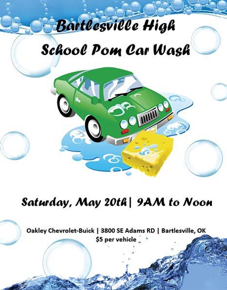 pom squad car wash fundraiser flyer