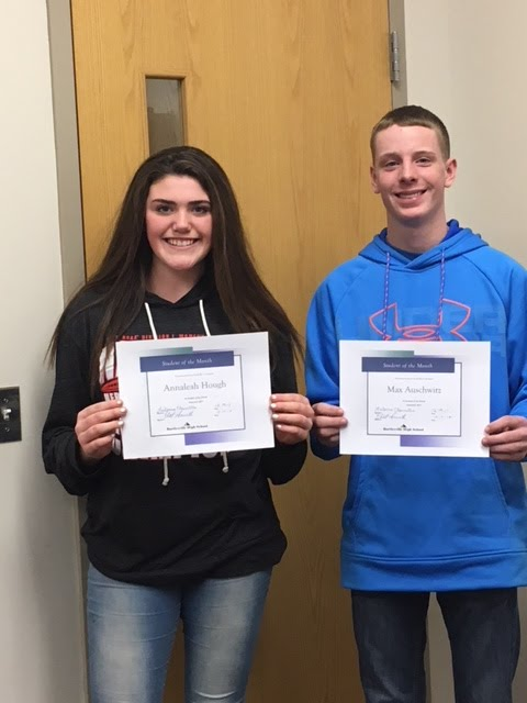 Annaleah Hough and Max Auschwitz  - Freshman Academy Students of the Month for December 2017