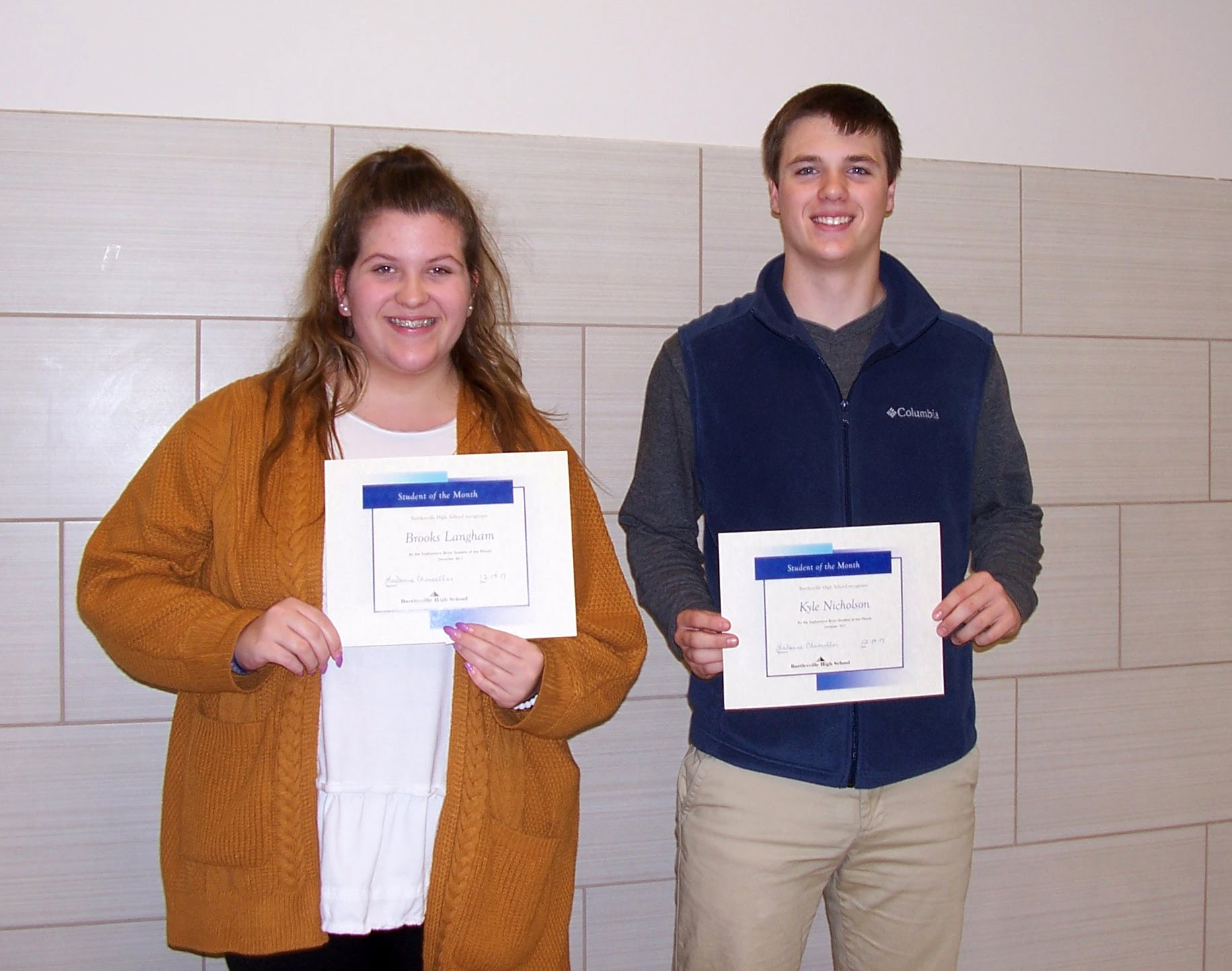 Sophomores Brooks Langham and Kyle Nicholson - Bruin Group Students of the Month for December 2017