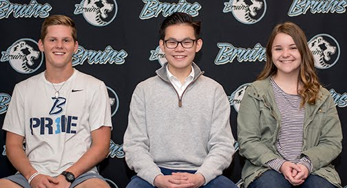 Left to right : John Cone (Senior), Stone Yang (Sophomore), Kaylee Cromwell (Senior) September Students of the Month