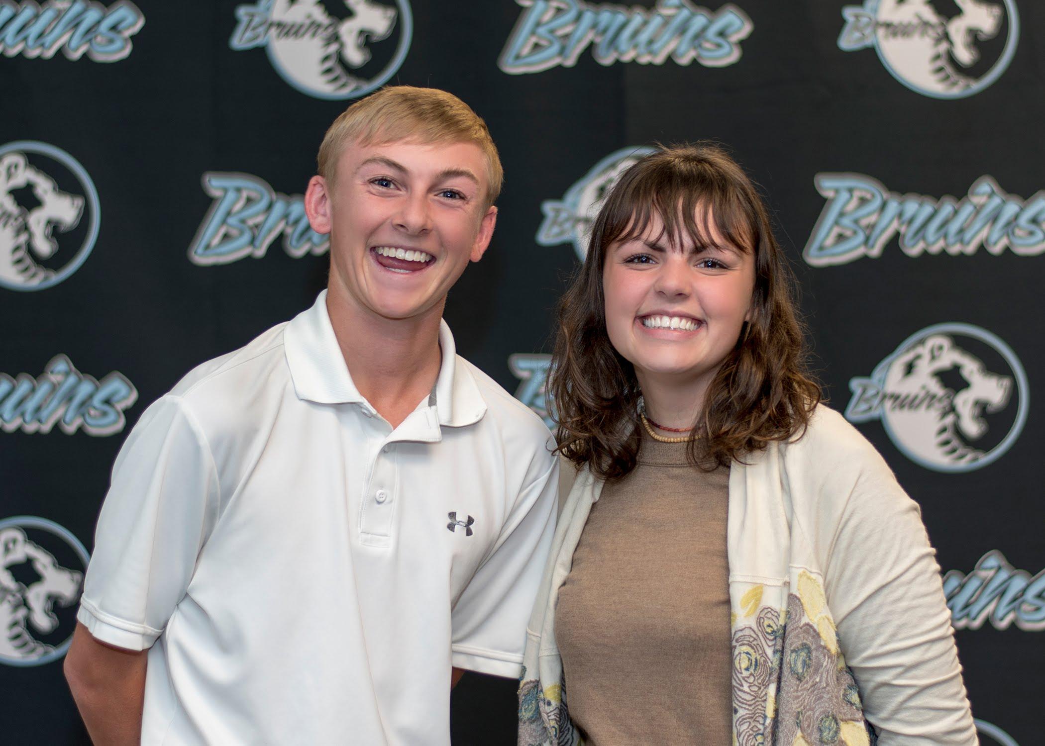Matt Russell (Senior), Hannah Aldrich (Senior) Principal's Students of the Month for September