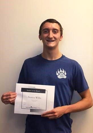 Preston Willis, Freshman Academy Student of the Month for September