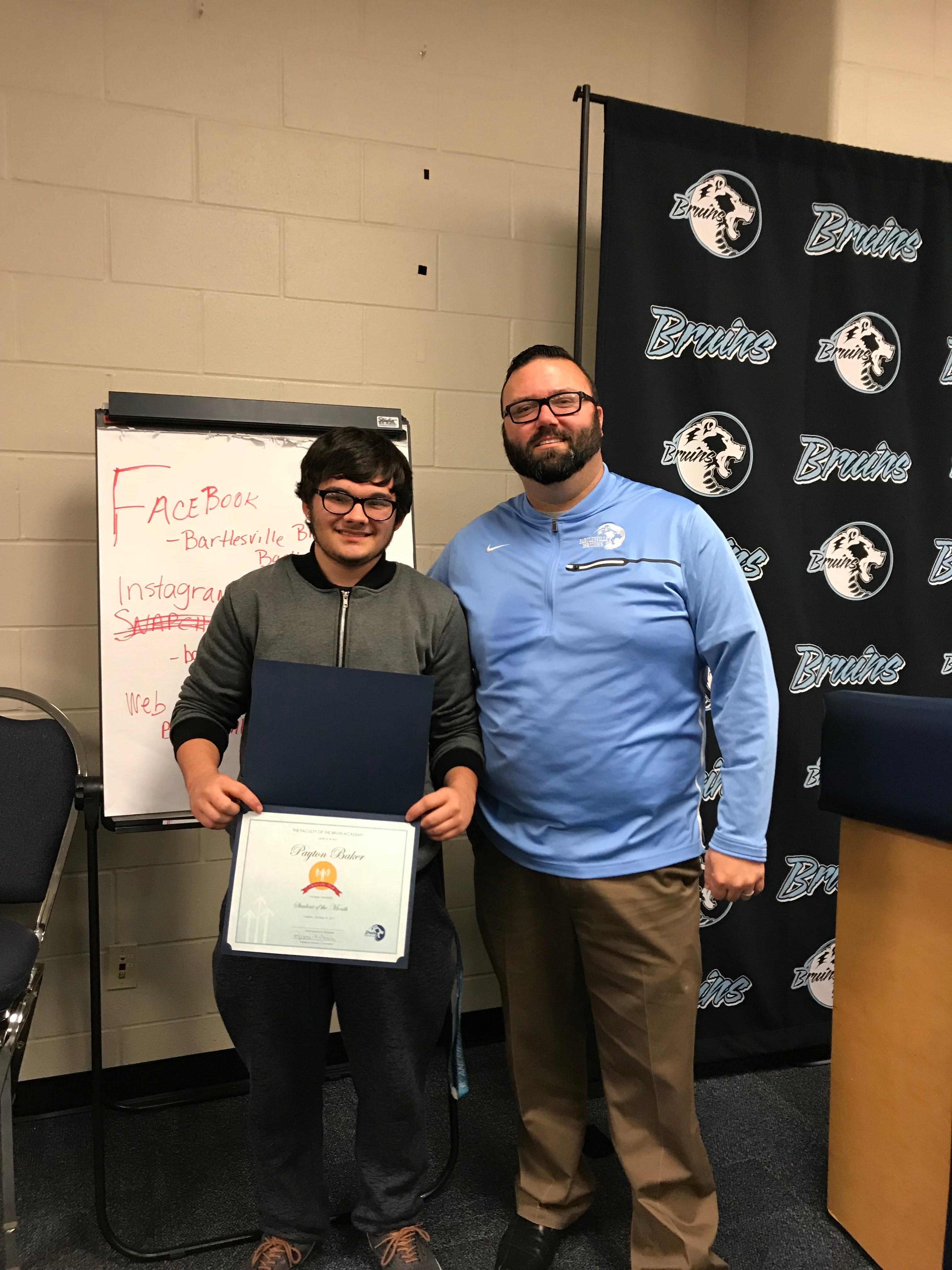 Sophomore, Payton Baker, October Student of the Month and Matt Hancock, Bruin Academy Principal