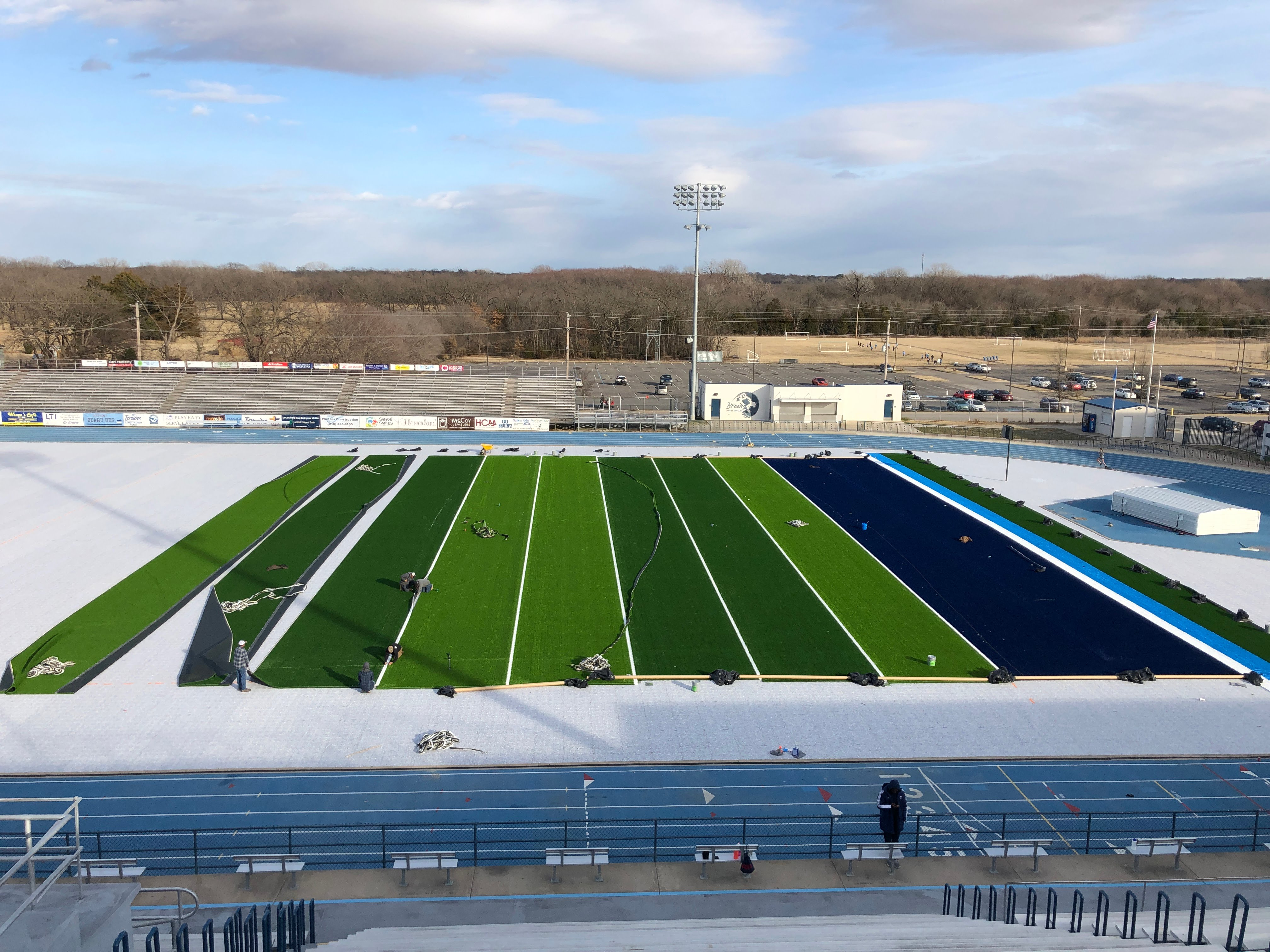 New turf being installed
