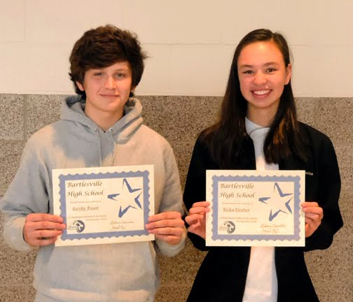 Sophomore Students of the Month for December - Jacoby Foust & Erika Gruber