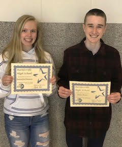Samantha Simmons and Elijah Winter - 10th grade Students of the Month for January 2019