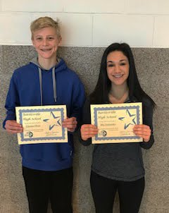 Charles Olsen and Mia Archambo - 9th grade Students of the Month for January 2019