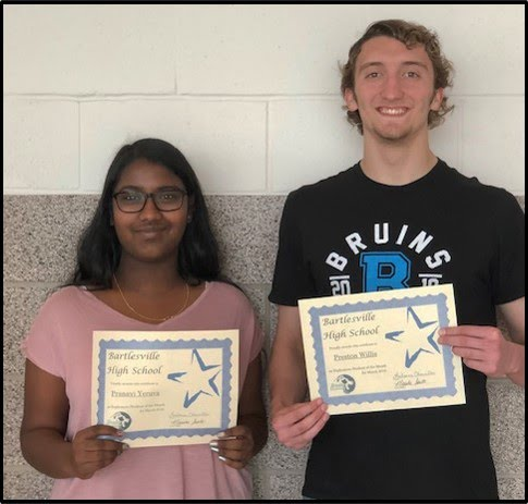 Sophomore Students of the Month for March 2019 - Pranavi Yeruva and Preston Willis