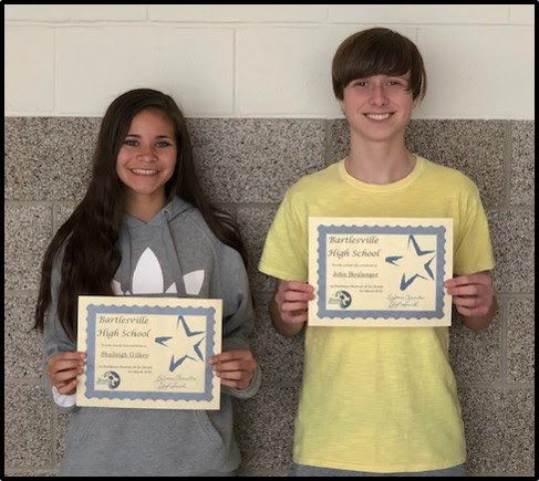 Junior Students of the Month for March 2019 - Baylee Langham and Kaleb Childress