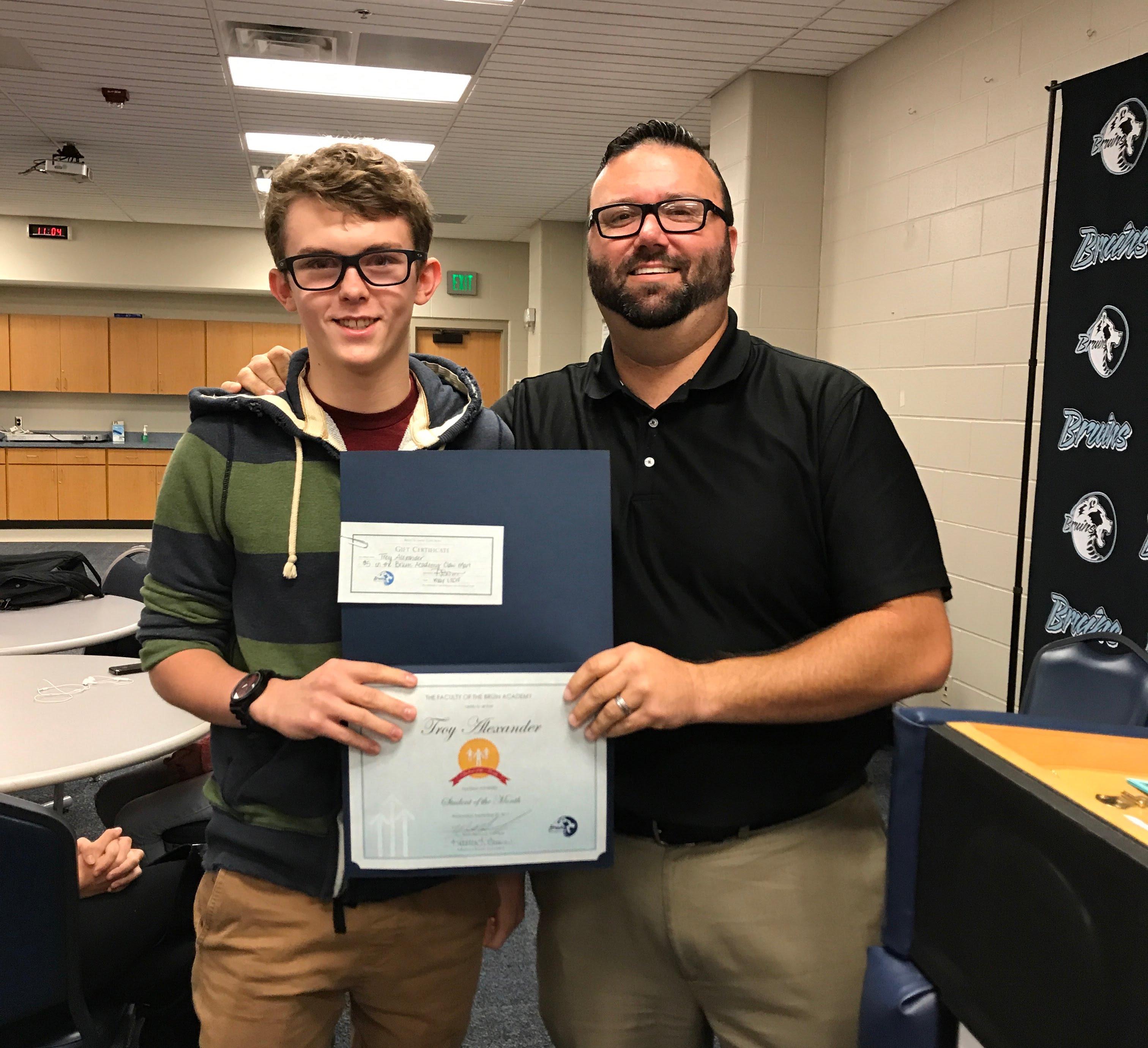 Sophomore Troy Alexander - September Student of the Month and Matt Hancock, Bruin Academy Principal
