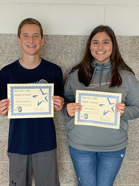Jack Auschwitz and Janet Lopez, Freshman Students of the Month for August/September 2019