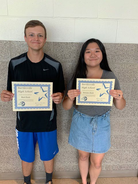 Kurt Kauk and Brittany Banh, Senior Students of the Month for August/September 2019