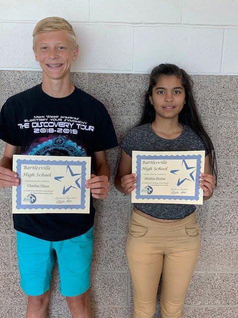 Charlie Olsen and Mekhla Shelar, Sophomore Students of the Month for August/September 2019