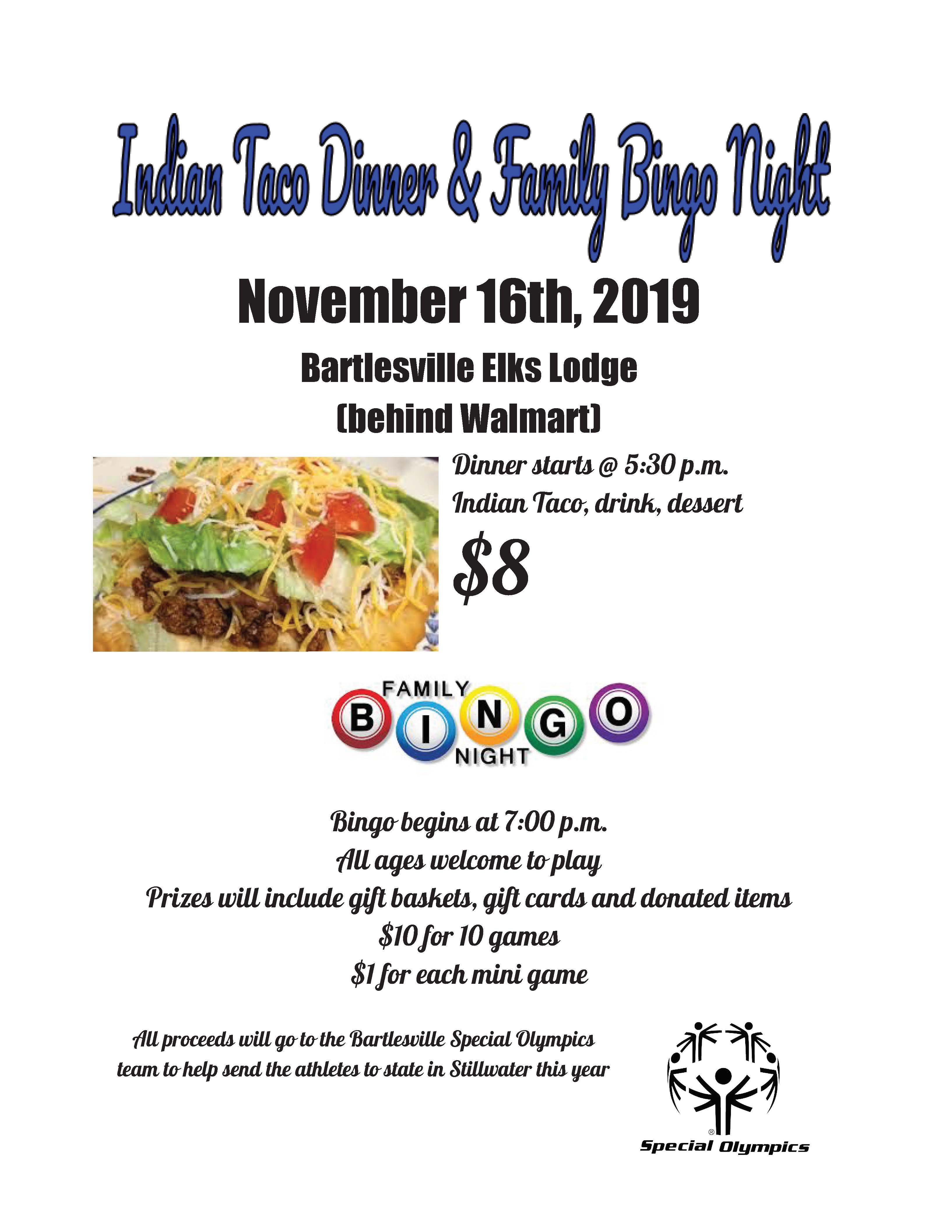 Special Olympics Indian Taco Dinner and Family Bingo Night