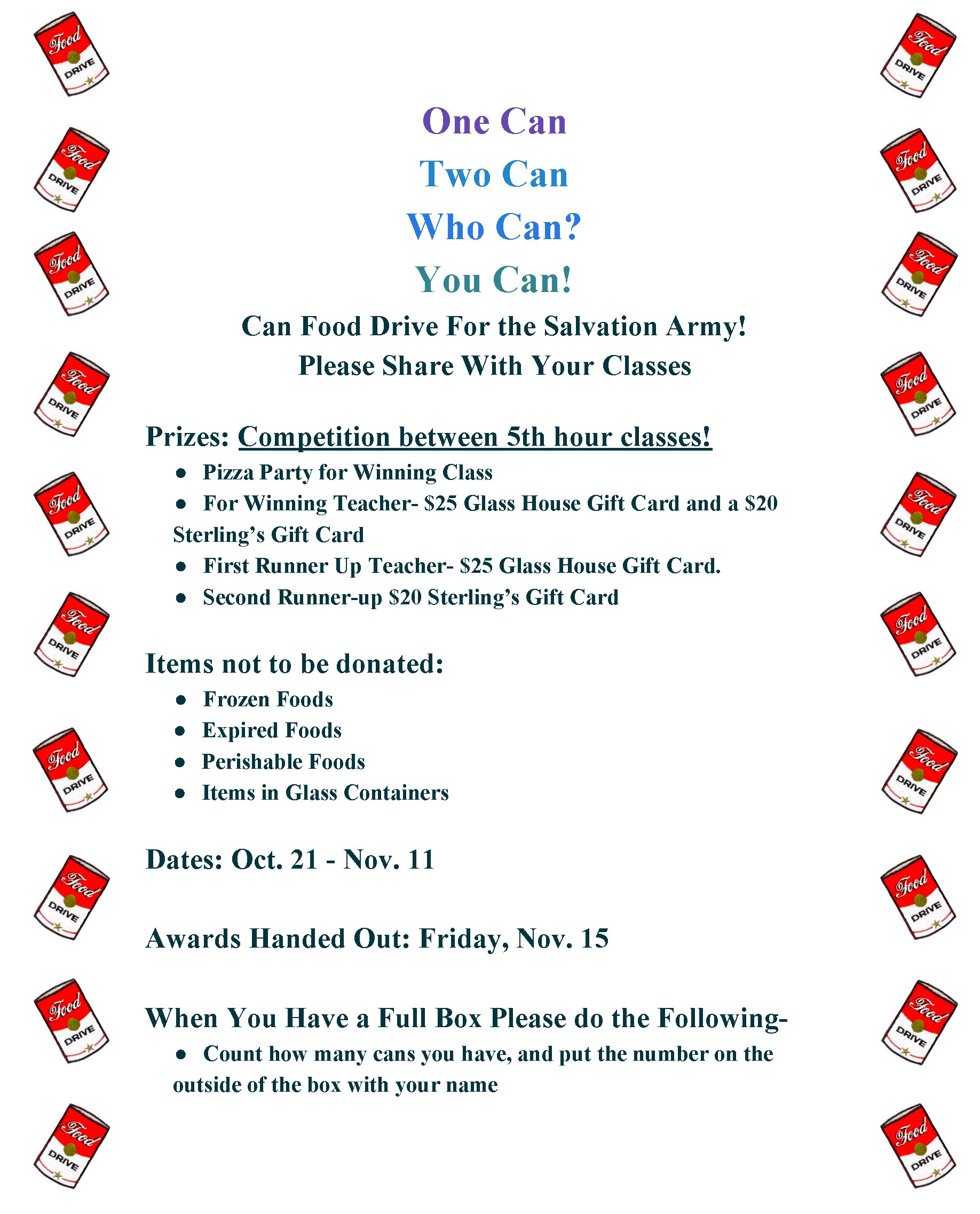BHS Can Food Drive