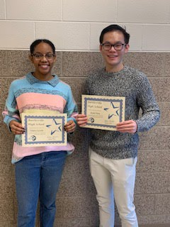 Senior Students of the Month for Oct/Nov Gloria Castillo and Stone Yang