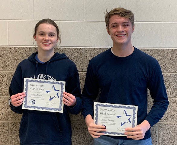 Sophomores, Ragen Hodge & Thomas Duncan January Students of the Month