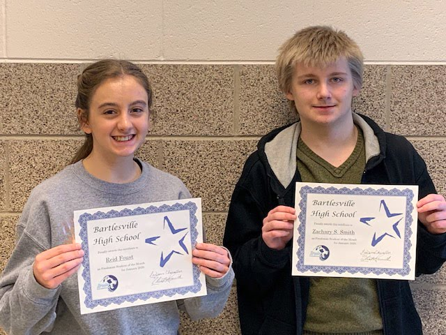 Freshman, Reid Foust & Zachary S. Smith January Students of the Month