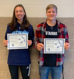 Juniors:  Erika Gruber and Jonah Yearout, March 2020 Students of the Month