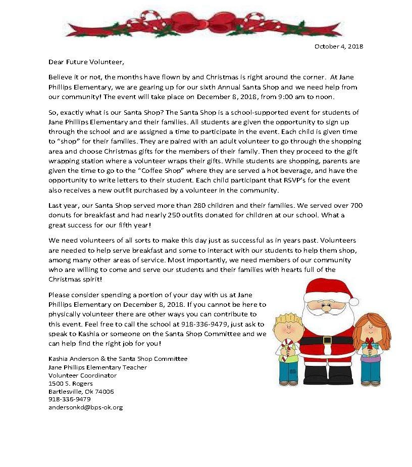 Santa Shop Volunteer Letter