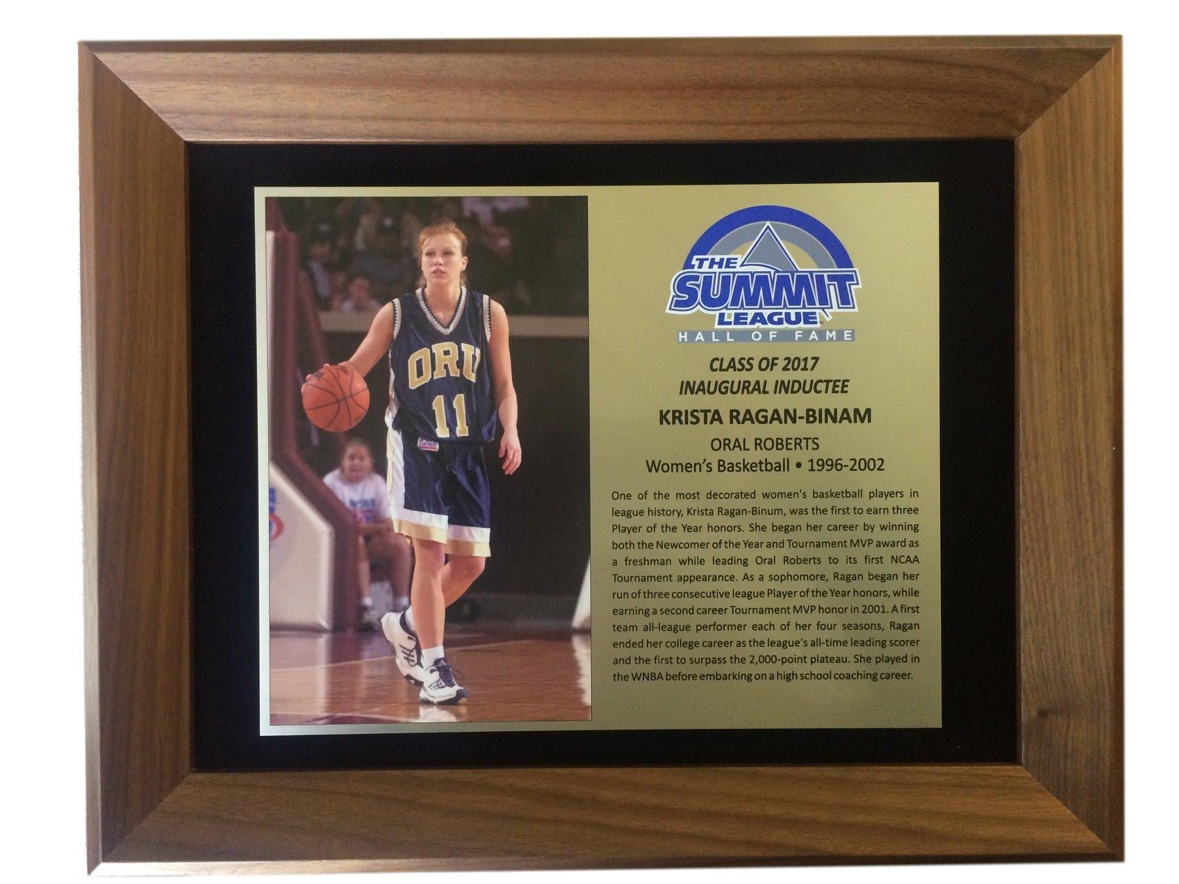 Krista Ragan-Binam's Hall of Fame Plaque