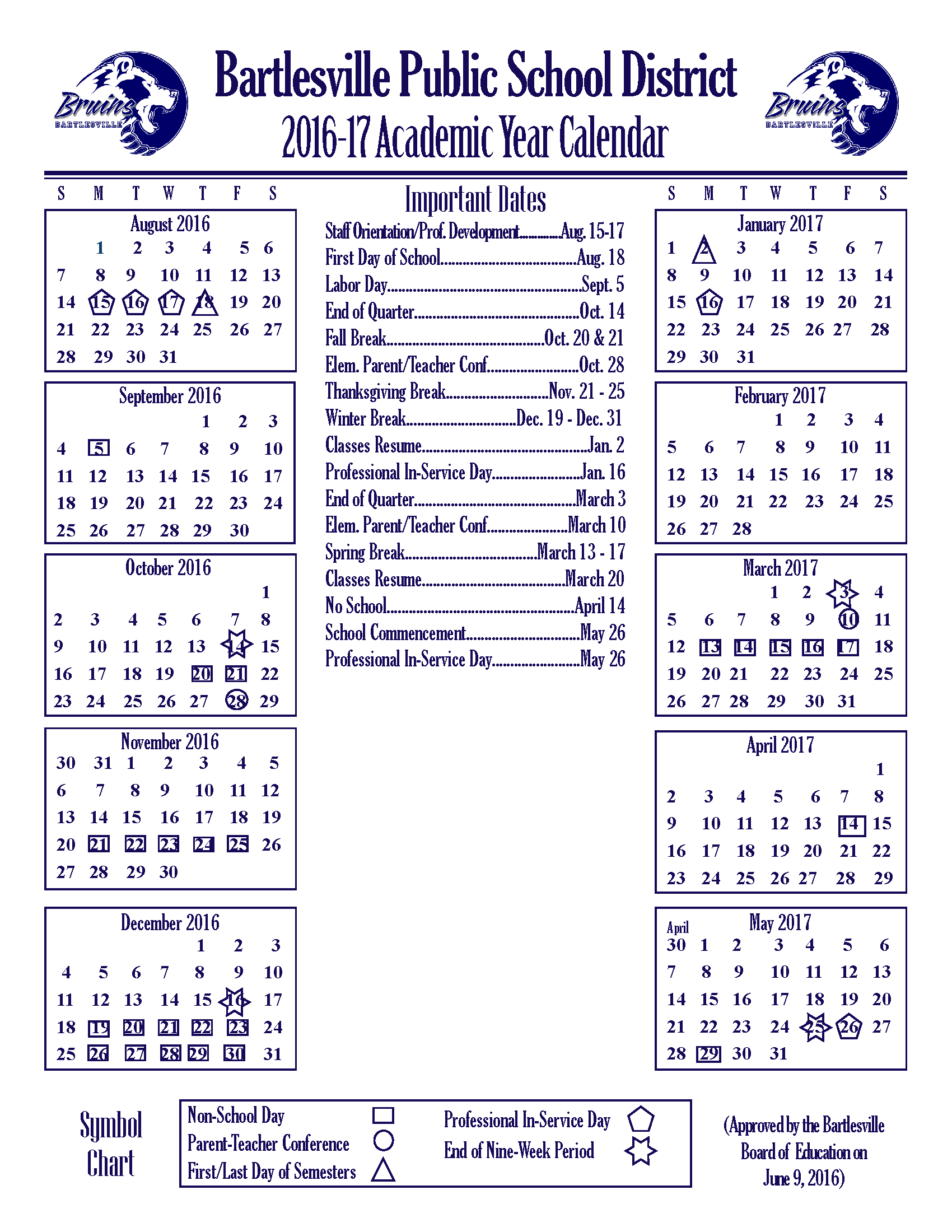 2016-2017 Academic Year Calendar Revised - Bartlesville Public Schools