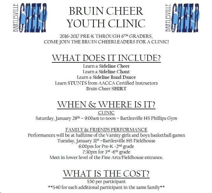 Bruin Cheer Youth Clinic on 1/28 - Bartlesville Public Schools