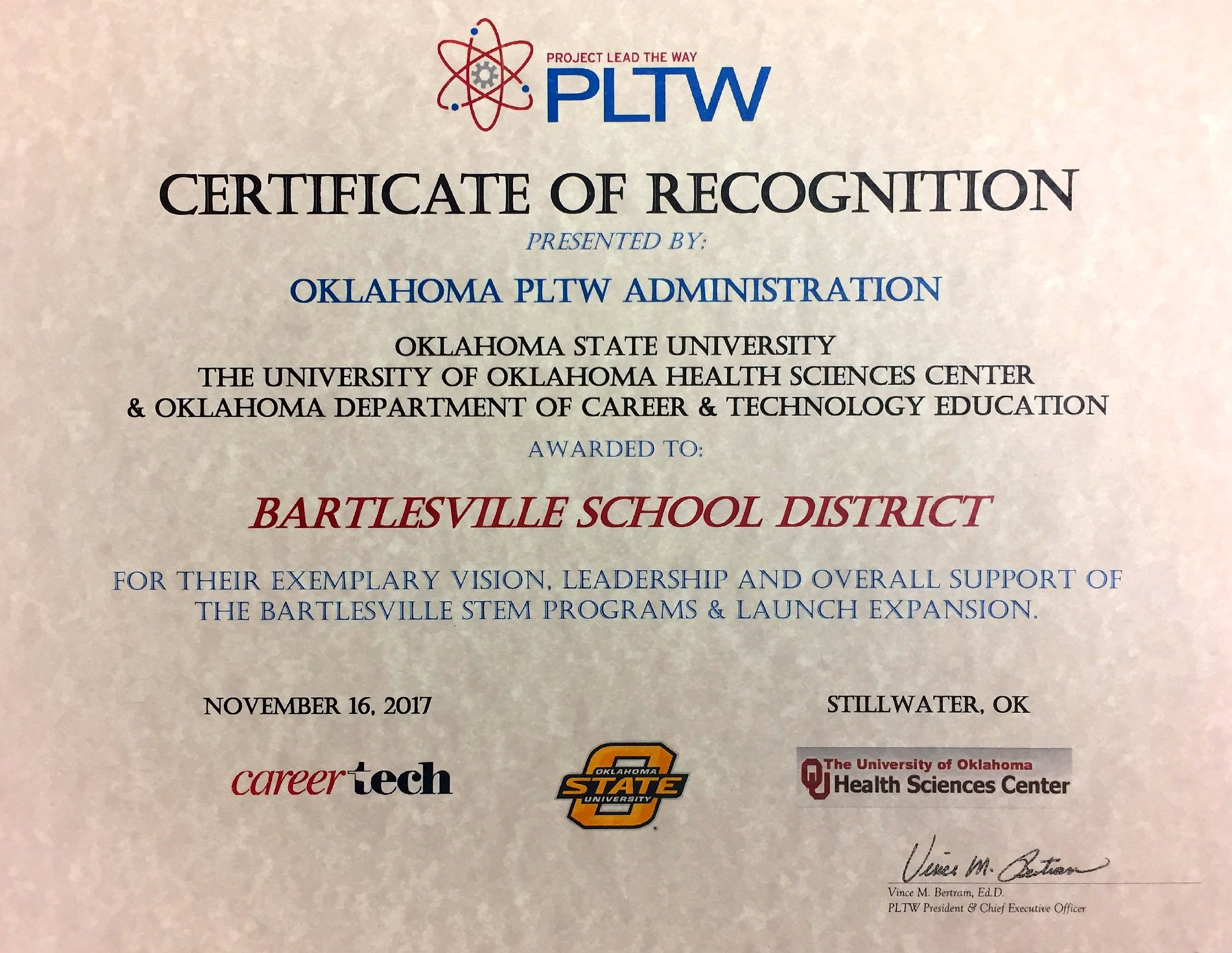 PLTW Certificate of Recognition
