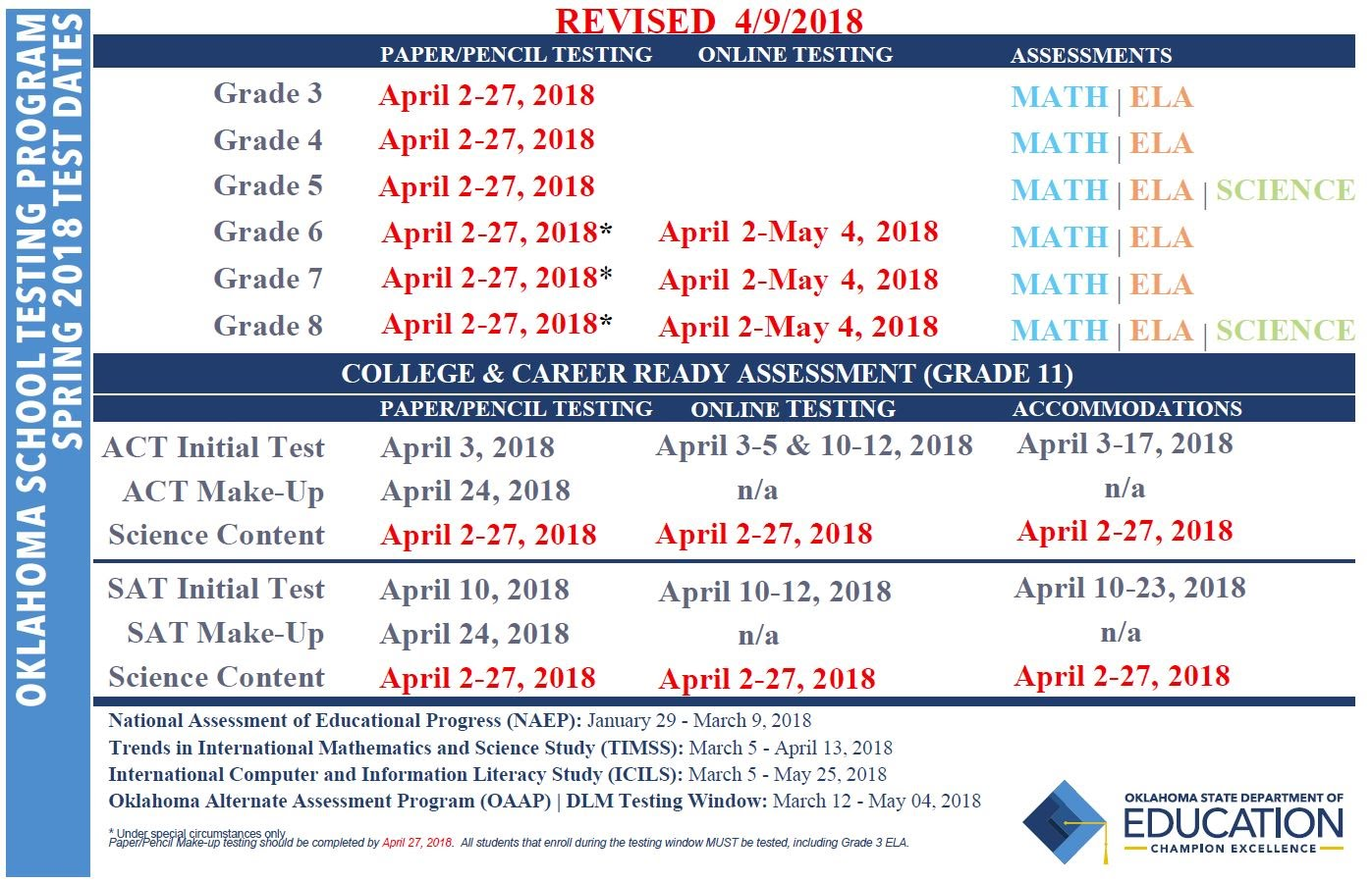 State testing calendar extension