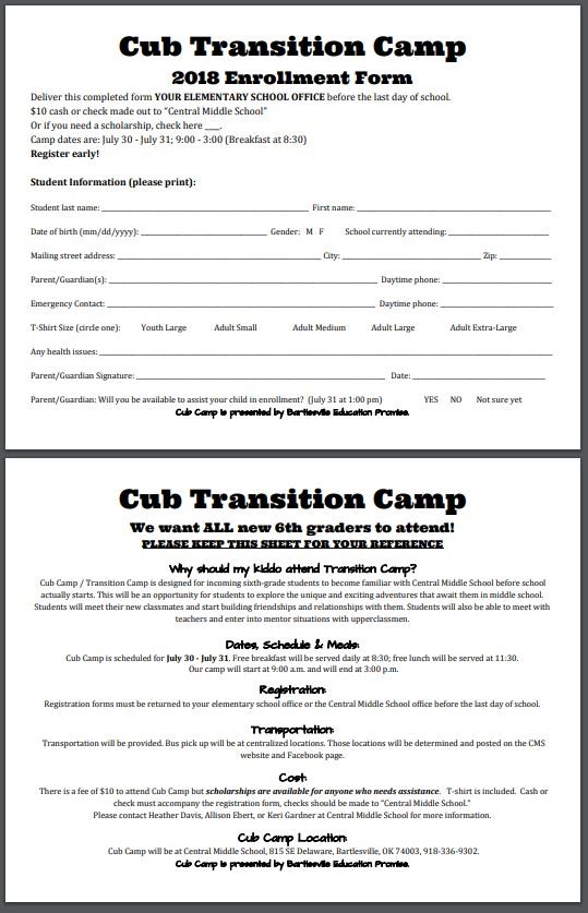 Secondary Transition Camps This Summer Bartlesville Public Schools