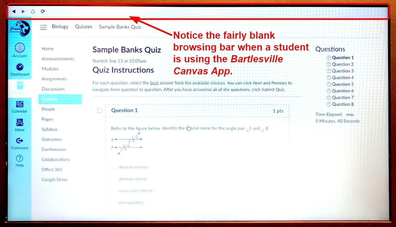 Student in LockDown Browser