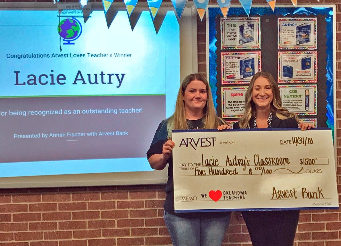 Autry receives $500 from Arvest Bank - Bartlesville Public