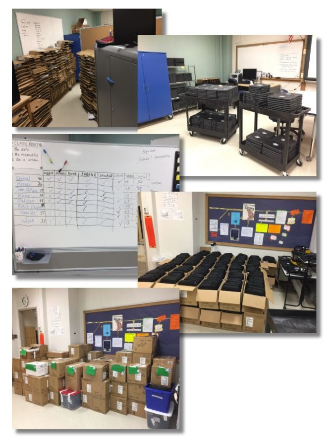 The high school support team helped deploy 340 Chromebooks for elementary and middle school staff members