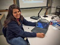 Andrea Hernandez with cracked Chromebook screen