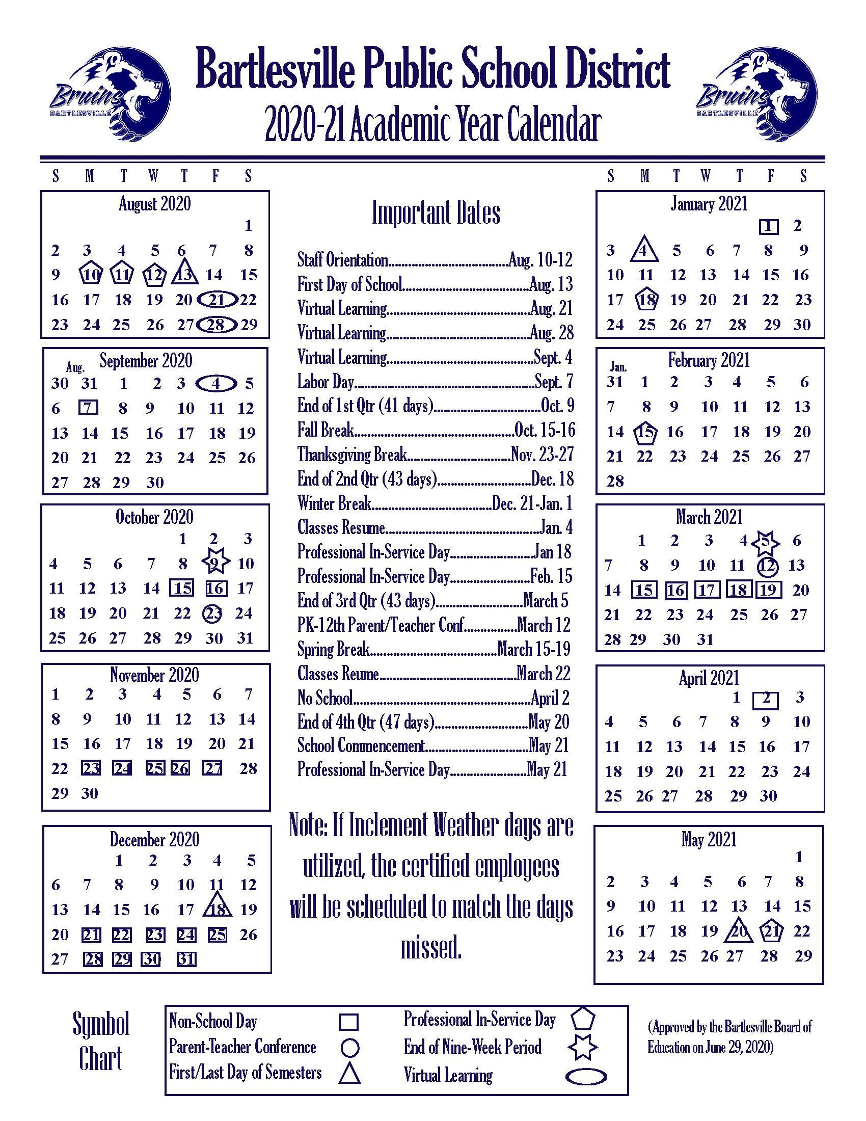 2020-2021 Academic Year Calendar