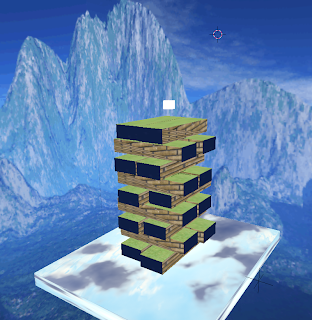 A screen shot of a Blender jenga game