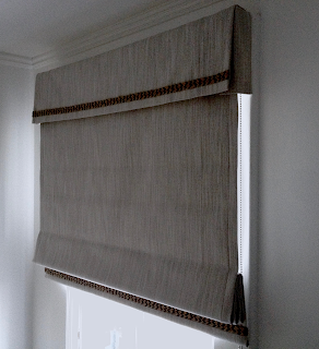 Custom flat roman shade with black out lining