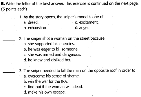 "essay questions on the sniper A big no-no is do not state ""in this essay, i am going to explain, i will talk about the following, etc"" ""the sniper"" writing topics."