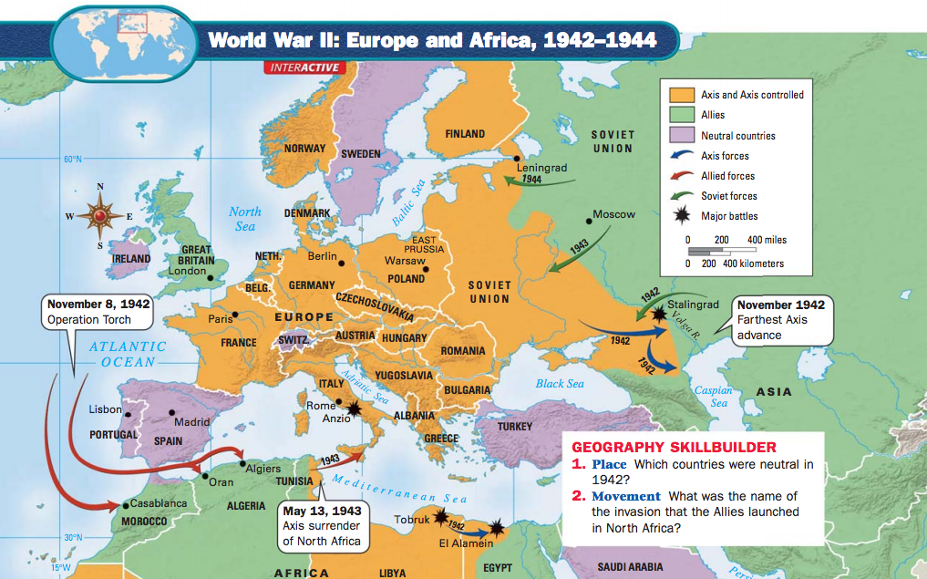 Wwii europe and africa 1942 1944g map image credit danzer gerald a the americans evanston il mcdougal littell 2003 gumiabroncs Choice Image