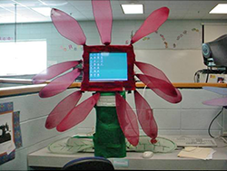 Student-created computer case modification in the form of a flower.