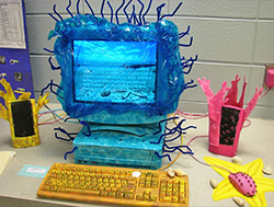 Student-created computer case modification: decorated as an underwater coral reef.