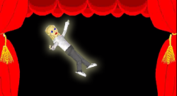 Thumbnail image of animated graphic linked to a YouTube video. While on the run and hiding out from gangsters, a secret agent particle physicist with the secret of anti-gravity takes a job in a traveling vaudeville show. Her attempts to blend in are charged with humor. This tiny dancer's fancy floating footwork awes the audience and puts her in peril. Will it be curtains for our heroine? Stay tuned!