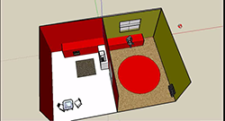 Thumbnail image and link to a video of a student using SketchUp to manipulate a 3D model of a home.