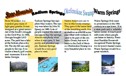 This is a thumbnail image of and link to a .pdf (portable document file) version of a brochure about the Seven Natural Wonders of Georgia. The document was created with Microsoft Publisher.
