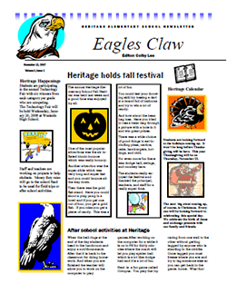 This is a thumbnail image of and link to a .pdf (portable document file) version of a newsletter. The document was created with Microsoft Word.