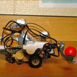 This is an image of a student made and operated robot that was submitted in the Robotics category of the Technology Fair.