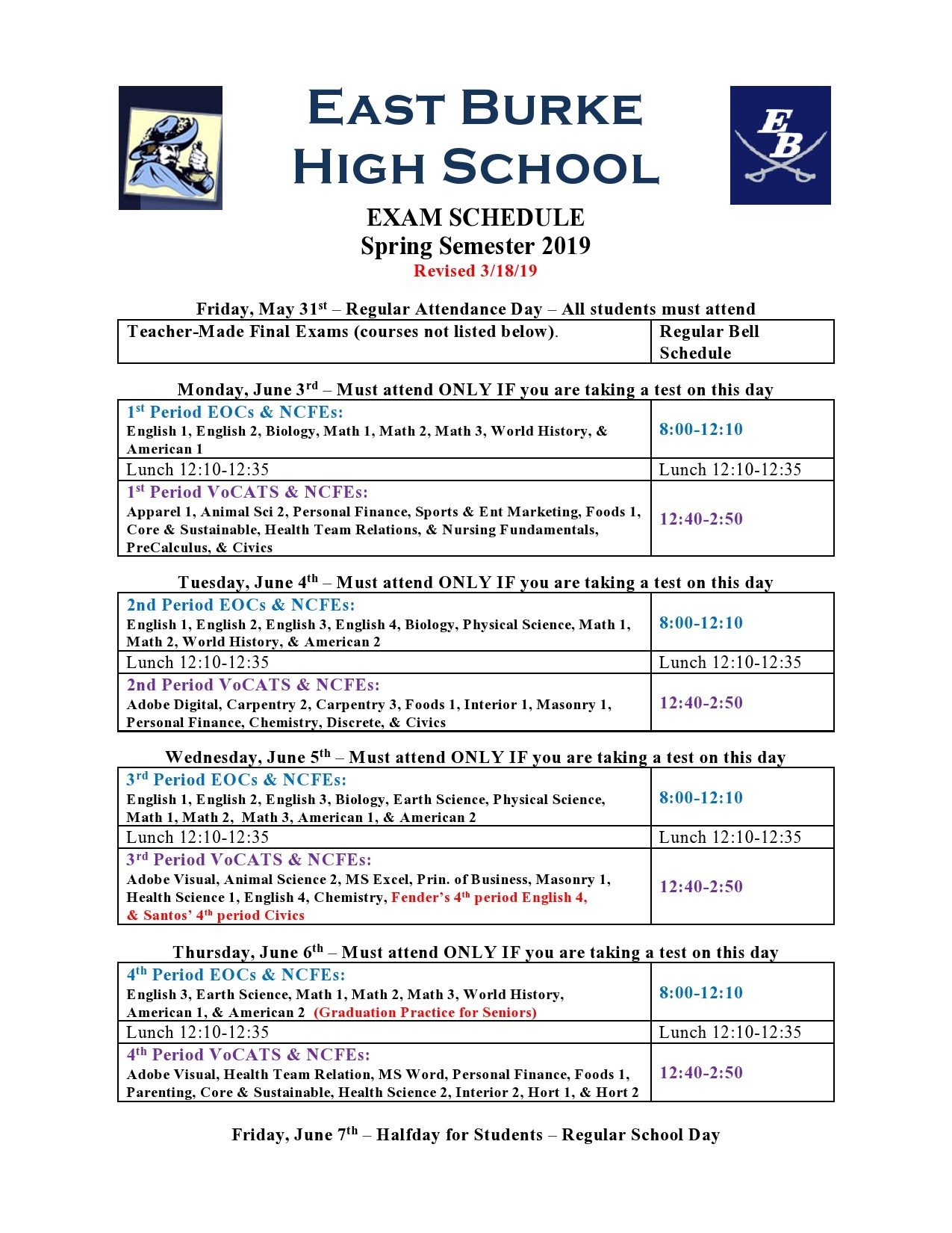 Uncg Final Exam Schedule Spring 2020.Announcements East Burke High School